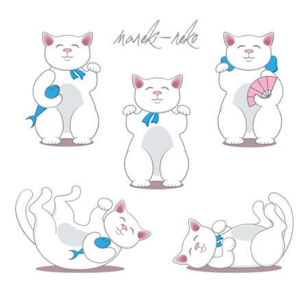 maneki neko: Set of three maneki neko cats. Vector illustration