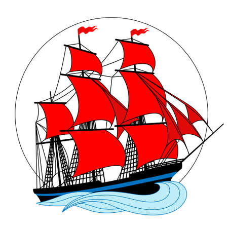 Sailing ship with white sails in a circle. Vector illustration