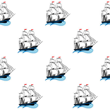 brigantine: Sailing ships with white sails and red flags. Vector seamless pattern