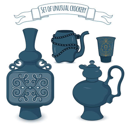 faience: Set of decorated eastern crockery: jar, coffee pot, drinking bowl and cup. Vector illustration