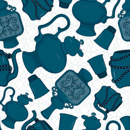 faience: Seamless pattern with decorated eastern jars, coffepots, drinking bowls and glasses