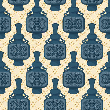faience: Seamless pattern with decorated eastern jars. Vector illustration Illustration