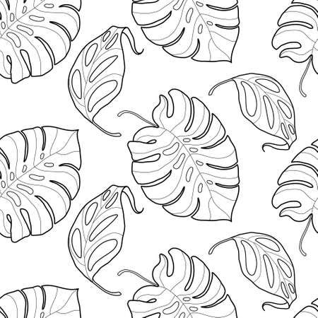 tree leaf: Black and white graphic tropical leaves seamless pattern. Palm tree background. Textile, fabric, texture, poster. Vector illustration