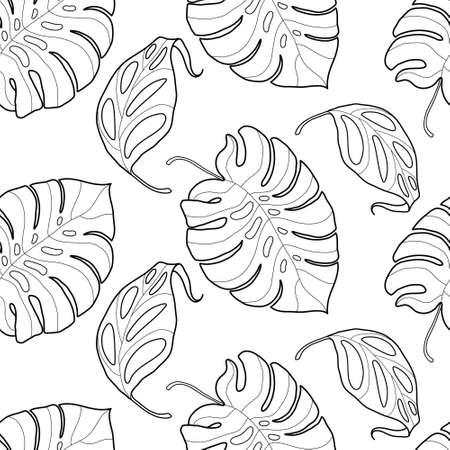 Zwart en wit grafische tropische bladeren naadloos patroon. Palmboom achtergrond. Textiel, stof, textuur, poster. vector illustratie