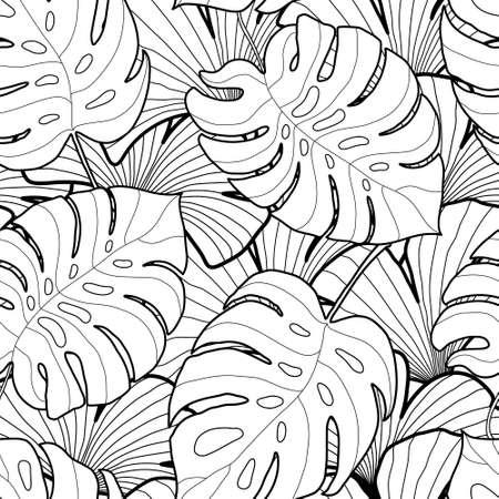 黒と白のグラフィックの熱帯の葉のシームレスなパターン。パーム ツリーの背景色。テキスタイル、ファブリック、テクスチャ、ポスター。ベクト  イラスト・ベクター素材