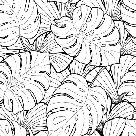 white backgrounds: Black and white graphic tropical leaves seamless pattern. Palm tree background. Textile, fabric, texture, poster. Vector illustration