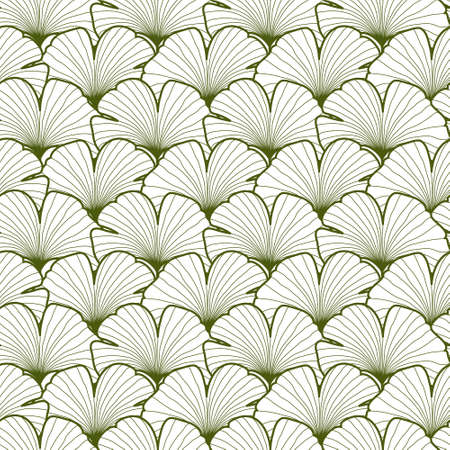 Green and white graphic ginkgo leaves seamless pattern. Palm tree background. Textile, fabric, texture, poster. Vector illustration
