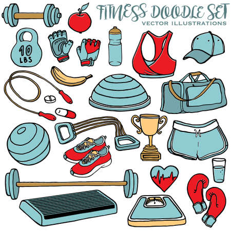 step fitness: Hand drawn fitness doodle set. Sport clothes, dumbbell, fitball, gloves, scales, step and cup. Multicolor vector illustration Illustration