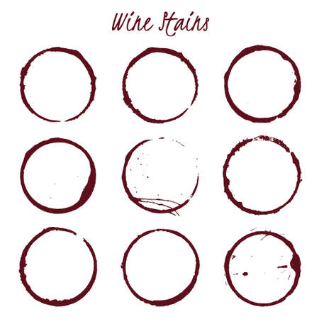 wine stains: Set of spilled wine stains spots rings Isolated on white background, vector illustration