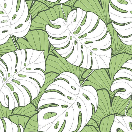 monstera leaf: Black and white monstera leaf seamless pattern. Palm tree background. Textile, fabric, texture, poster. Vector illustration Illustration