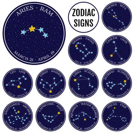costellazioni: Set di costellazioni zodiacali. Carino illustrazione vettoriale stile cartoon. emblemi rotonde con i nomi segno zodiacale e date