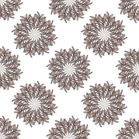 pinkish: Olive branch big and small mandala seamless pattern. Pinkish leaves in circles. Pastel coloring. White background. Vector illustration