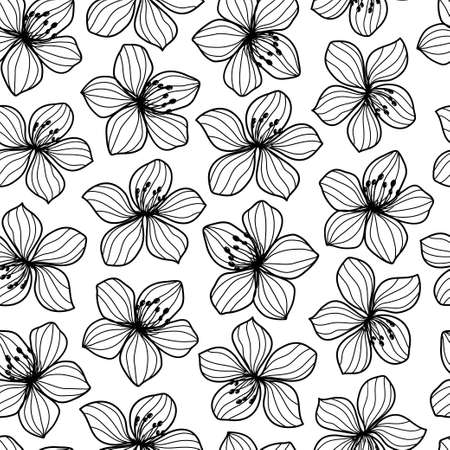 sofisticated: Black and white flower retro style seamless pattern. Vector illustration. Illustration