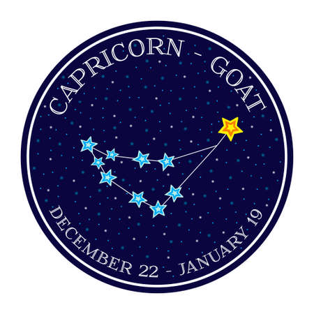 date night: Capricorn zodiac constellation in space. Cute cartoon style vector illustration. Round emblem with zodiac sign name and dates