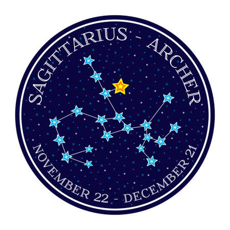 constellation sagittarius: Sagittarius zodiac constellation in space. Cute cartoon style vector illustration. Round emblem with zodiac sign name and dates