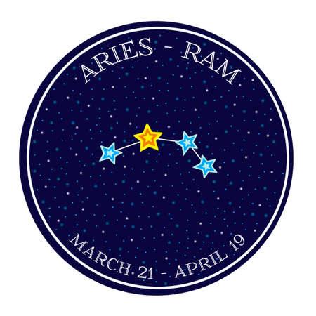 aries: Aries constelaci�n del zodiaco en el espacio. estilo de ilustraci�n vectorial de dibujos animados lindo. emblema redondo con el nombre del zodiaco signo y fechas