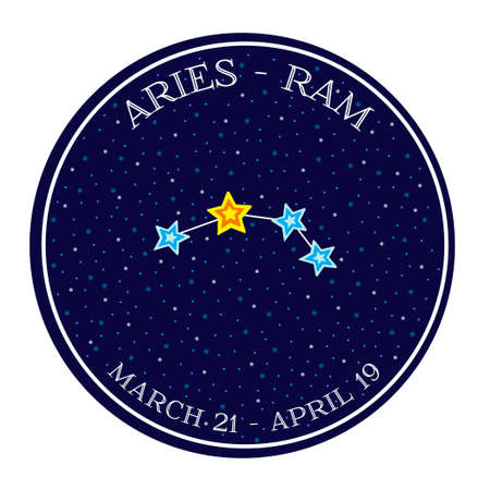 aries zodiac: Aries zodiac constellation in space. Cute cartoon style vector illustration. Round emblem with zodiac sign name and dates