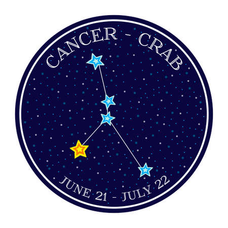 cancer zodiac: Cancer zodiac constellation in space. Cute cartoon style vector illustration. Round emblem with zodiac sign name and dates Illustration