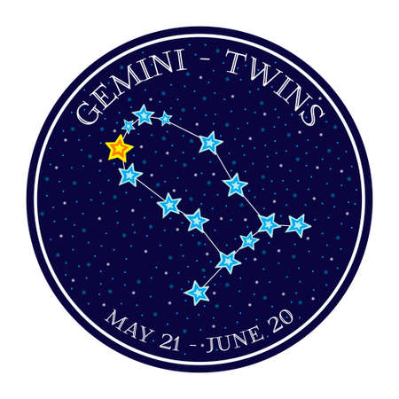 gemini zodiac: Gemini zodiac constellation in space. Cute cartoon style vector illustration. Round emblem with zodiac sign name and dates