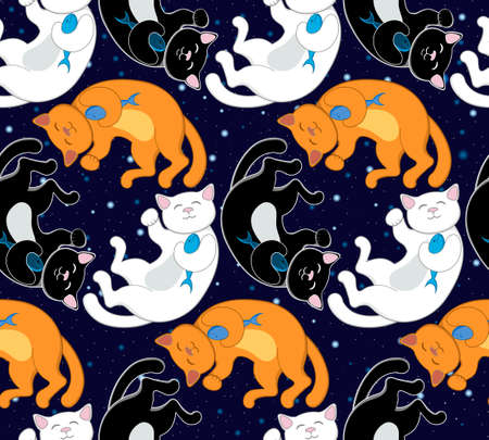 fortune cat: Seamless vector pattern with black, white and red orange happy cats, fish and stars Illustration