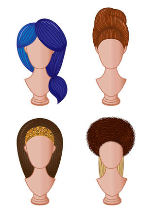 hairband: Set of different hairstyles. illustration of female hairdo