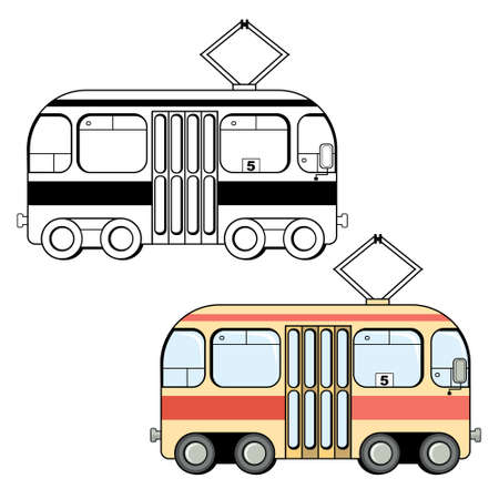 tramcar: Black and white and colored variants of cute cartoon style tram isolated on white background. Streetcar illustration Illustration