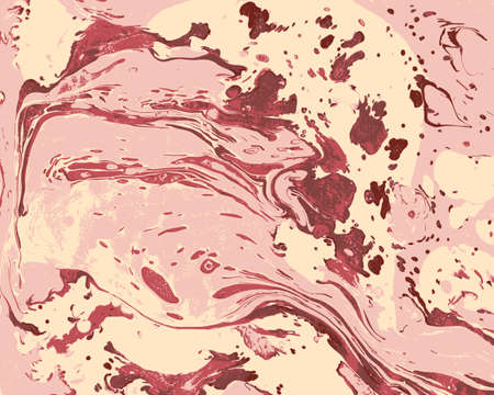peon: Abstract marbling ebru pink and red background with waves and splashes Illustration
