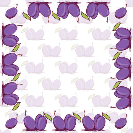 prune: Appetizing plum sketch style vector frame and seamless pattern on white background. Background of hand drawn fresh ripe purple plums for textile backdrop wrap cover web