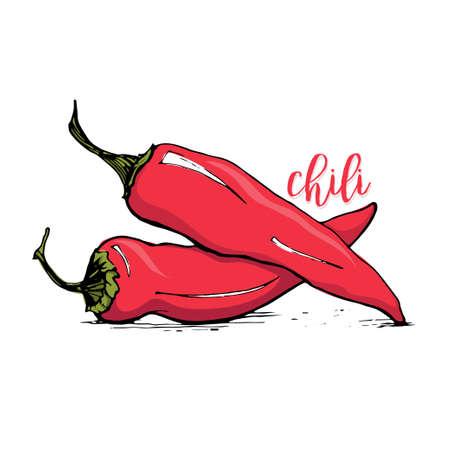 Rode Spaanse peper schets stijl vector illustratie op een witte achtergrond. pittige chili