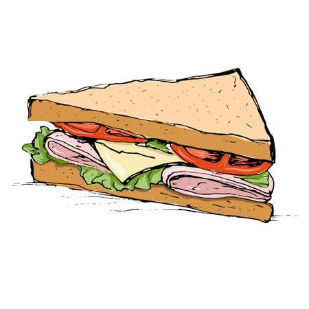 Ham, kaas, tomaat en sla sandwich schets stijl vector illustratie op een witte achtergrond. Draeing van smakelijk broodje met kaas, ontmoeten en groenten