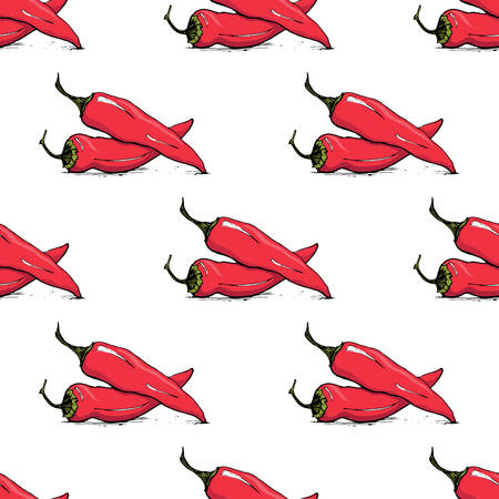 Appetizing sketch style chili vector seamless pattern on white background Illustration