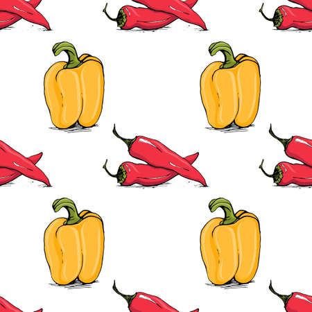 Appetizing sketch style chili and bell pepper vector seamless pattern on white background