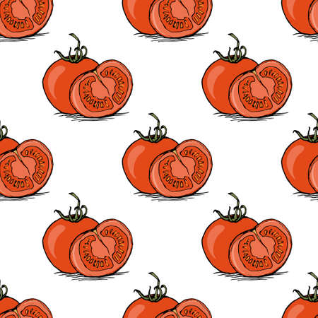 Appetizing sketch style red ripe tomato vector seamless pattern on white background Illustration