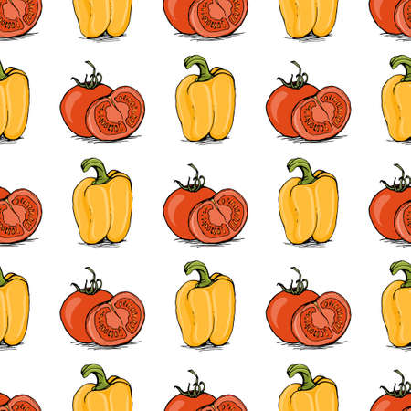 bell tomato: Appetizing sketch style red tomato and yellow bell pepper vector seamless pattern on white background