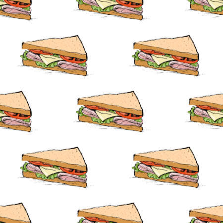 ham sandwich: Ham, cheese, tomato and lettuce sandwich sketch style vector seamless pattern on white background Illustration