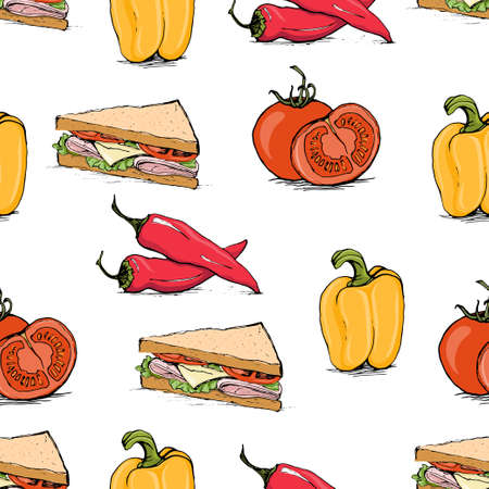 bell tomato: Appetizing sketch style tomato, bell pepper, chili and sandwich vector seamless pattern on white background