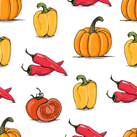 bell tomato: Appetizing sketch style tomato, bell pepper, chili and pumpkin vector seamless pattern on white background