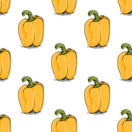 capsaicin: Appetizing sketch style yellow bell pepper vector seamless pattern on white background