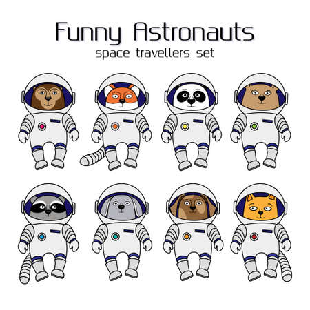 cat suit: Set of cute animal astronauts, cartoon style illustration isolated in white background. Cartoon animal cosmonauts, cat, dog, raccoon, fox, bear, panda, monkey, rabbit in space suites