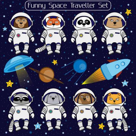 cat suit: Set of cute animal astronauts, rocket, satellite, UFO, stars in cosmos, cartoon style  illustration. Cartoon animal cosmonauts, cat dog raccoon fox bear panda monkey rabbit in space suite