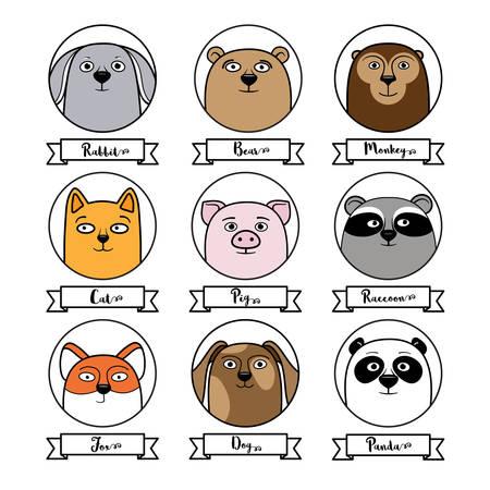 userpic: Set of cute animal avatars in circles, cartoon style illustration isolated in white background. Cat, dog, raccoon, fox, bear, panda, monkey, rabbit avatars for game, chat, userpic