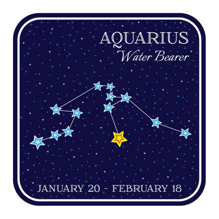 prophecy: Aquarious zodiac constellation in square frame, cute cartoon style illustration isolated on white background. Square horoscope emblem with aquarious constellation, zodiac sign name and month
