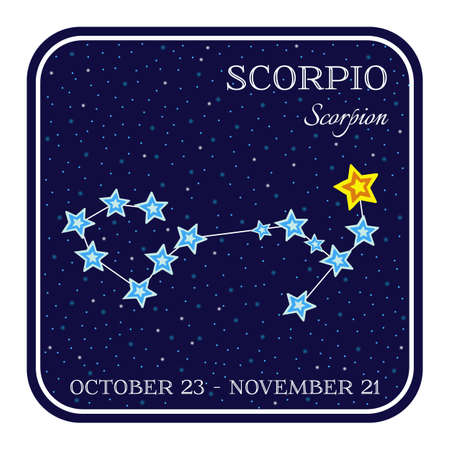 cartoon scorpion: Scorpion zodiac constellation in square frame, cute cartoon style illustration isolated on white background. Square horoscope emblem with Scorpio constellation, zodiac sign name and month