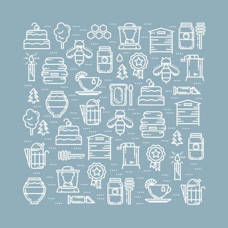 extractor: Square card with apiary thin line icons set, vector illustration. Bee honey hive beekeeper deeper tea cake candle award tree jar smoker extractor, refractometer and forest icons, white outline