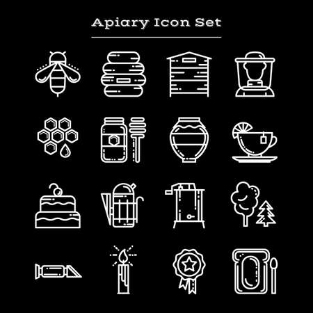 extractor: Set of white outline apiary icons, vector illustration isolated on black background. Set of bee and honey icons, apiary symbols - beehive, beekeeper, jar, deeper, smoker, honeycomb, extractor Illustration
