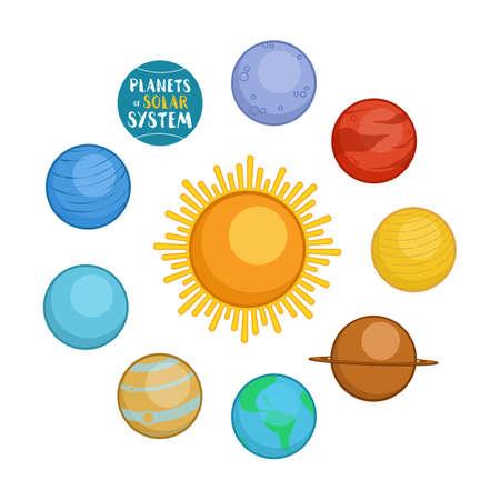 neptune: Planets of solar system, cartoon style vector illustration isolated in white background. Cute cartoon style planets - sun, Mercury, Venus, Earth, Mars, Saturn, Jupiter, Uranus, Neptune