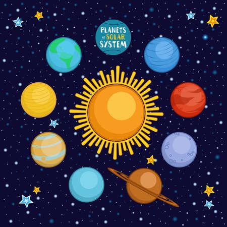 Planeten van ons zonnestelsel in de ruimte, cartoon stijl vector illustratie. Leuke cartoon stijl planeten - zon, Mercurius, Venus, Aarde, Mars, Saturnus, Jupiter, Uranus, Neptunus