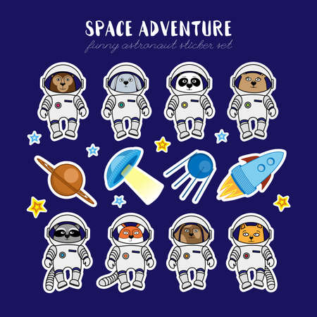 Set of cute animal astronauts, rocket, satellite, UFO, stars in cosmos stickers, cartoon style vector illustration. Stickers with cartoon animal cosmonauts in space suites, rocket, sattelite and ufo Illustration