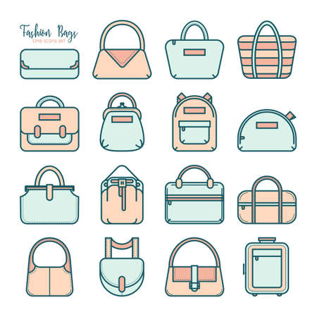 duffle: Set of colored fashion bag line icons, vector illustration isolated on white background. Set of 16 various thin line fashion bag icons in four colors