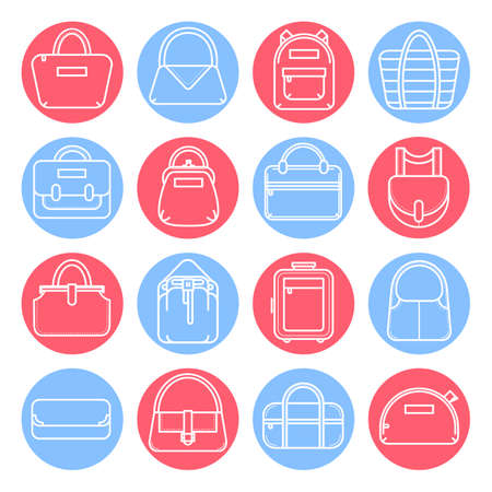 holdall: Set of fashion bag line icons in red and blue circles, vector illustration isolated on white background. Set of 16 various thin line fashion bag icons in colored circles
